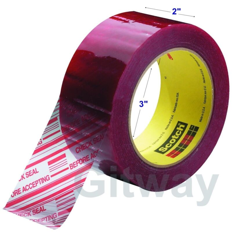 """1 Roll 3M Pre-Printed Tamper Evident Security Packaging Box Tape 2""""x 110 Yards"""