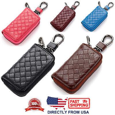 Unisex Universal Genuine Braided Leather Car Key Zipper Case with Key Ring