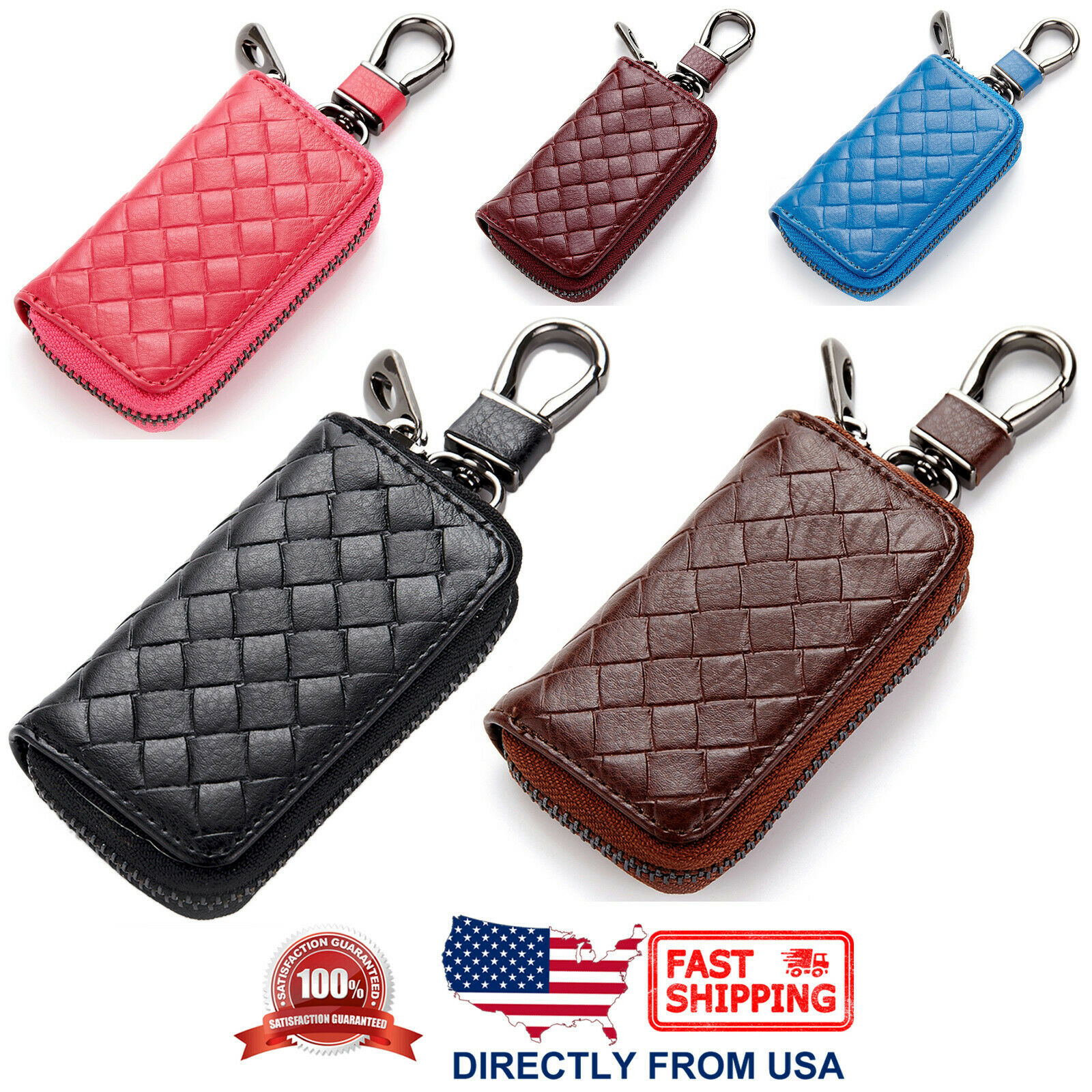 Unisex Universal Genuine Braided Leather Car Key Zipper Case with Key Ring Clothing, Shoes & Accessories