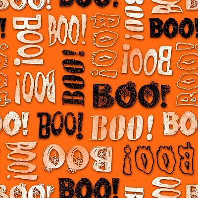 Halloween BOO! Black White Orange fabric 100% cotton Scrap Sew Craft Quilt NEW