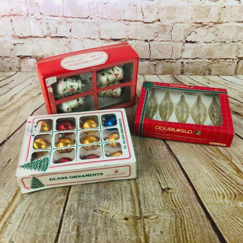 Vintage 3 boxes of Christmas glass tree ornaments rd bell & tear shaped