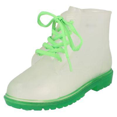 Klar, Schuhe Für Mädchen (Jungen H5026 grün/klar transparent Gummistiefel Schnürer Stiefel von Markenlos)