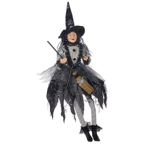 "30"" RAZ Sitting Classic Witch Halloween Black Hat Spiderweb Figure Doll Decor"