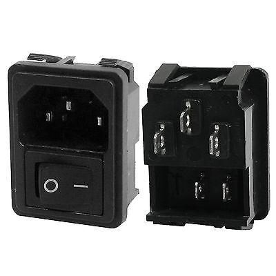 Panel Mount Rocker Switch Iec320 C14 Plug Power Socket Ac 250v 10a Black