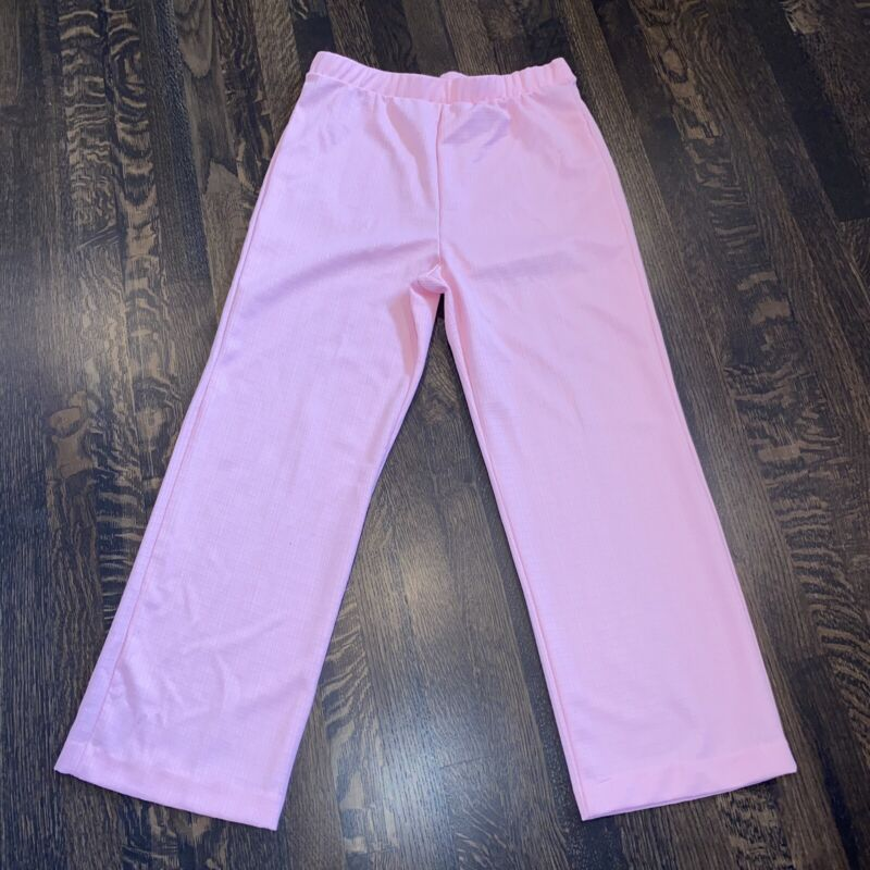 Vtg 60s 70s Pants POLYESTER Pink Secretary Disco Mid Century WIDE LEG Womens 18