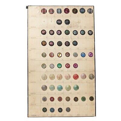 rare vintage Czech 1920/'s imitation fabric semi translucent white round glass buttons 13mm Card 24