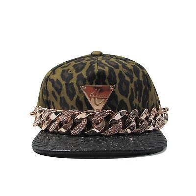 HATer Gold Chain Cheetah Velour Print Strapback Hat Leather Brim Snapback