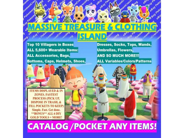 1.9 ALL*CLOTHING/Animal Crossing Treasure Island 1HR  Unlimited Trips! ACNH Loot