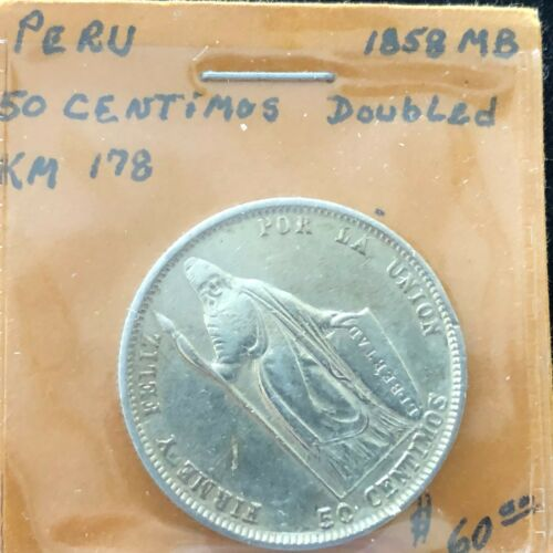 1858 MB Peru 50 Centimos Doubled Silver KM#178 Standing Liberty South America
