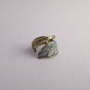 Feather Leaf RING Gold Antique Style Quirky Indie Vtg Grunge Statement Bronze UK