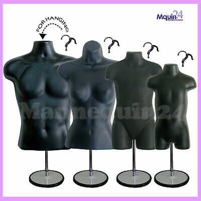 4 Black Mannequins Male Female Child Toddler Body Forms 4 Stand 4 Hangers
