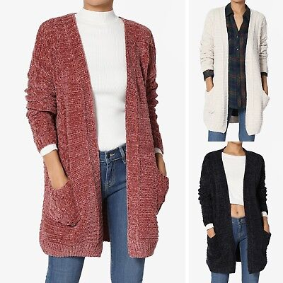 TheMogan S~3X Soft Velvet Yarn Cable Knit Pocket Open Front Sweater Cardigan