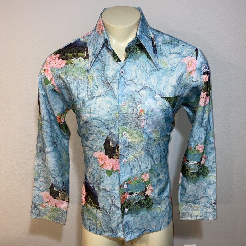 Vtg 60s 70s Kings Road SEARS Shirt Floral Maps Disco POLYESTER Groovy Mens LARGE