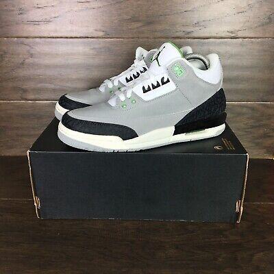New Air Jordan 3 Retro Grey Chlorophyll Basketball Kids Sz 7Y Shoes 398614-006