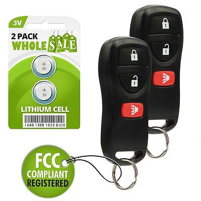 2 Replacement For 2004 2005 2006 2007 2008 2009 Nissan Quest Key Fob Remote