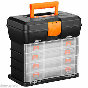 VonHaus Utility DIY Storage Tool Box Carry Case - 4 Drawers & Organiser Dividers