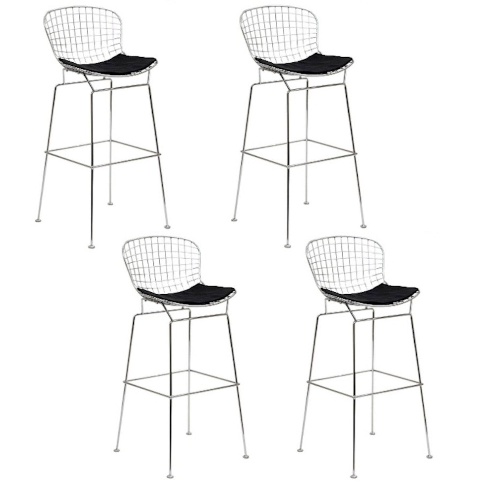 set of 4 bertoia 25 h wire counter stools chromed steel black leatherette pads