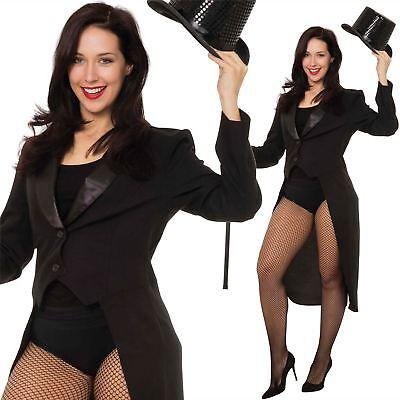 Adult Ladies Tailcoat Jacket Ringmaster Magician Cabaret Fancy Dress - Lady Magician Costume