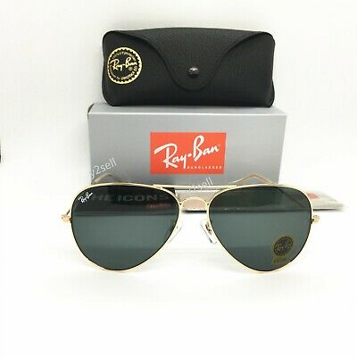 Ray-Ban Sunglasses Aviator Clasic 3025 (5418) Gold Green G-15 Lens (Ray Ban Gold Green Aviator)
