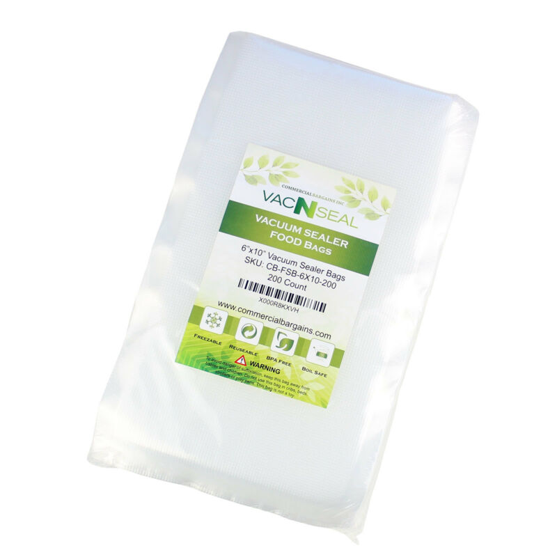 "200 CT 6"" x 10"" Vacuum Food Sealer Storage Saver Freezer Bags Pint Sized"