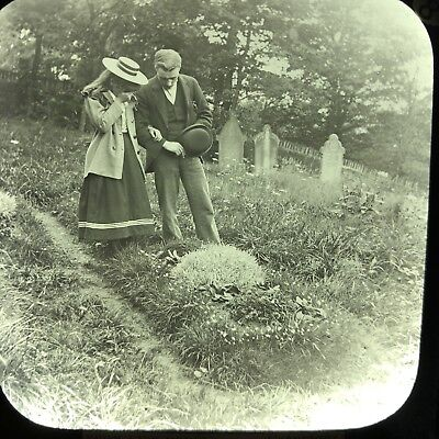 Antique Magic Lantern Glass Slide Photo Little Minnie Brother And Sister Grave