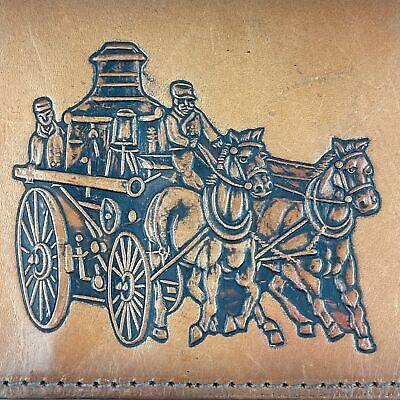 Vintage Hand-Pump Horse-Drawn Fire Truck LIght Brown Leather Bi-Fold Wallet