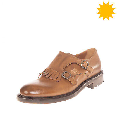 RRP €330 DOUCAL'S Leather Monk Strap Shoes EU 42 UK 8 US 9 HANDMADE in Italy
