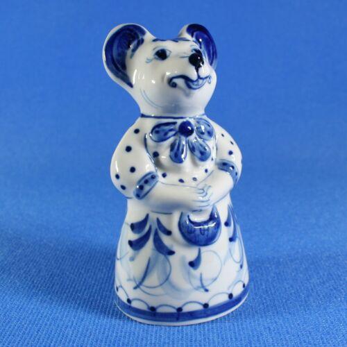 Rat Anfisa Gzhel porcelain figurine Handpainted Russian Souvenir