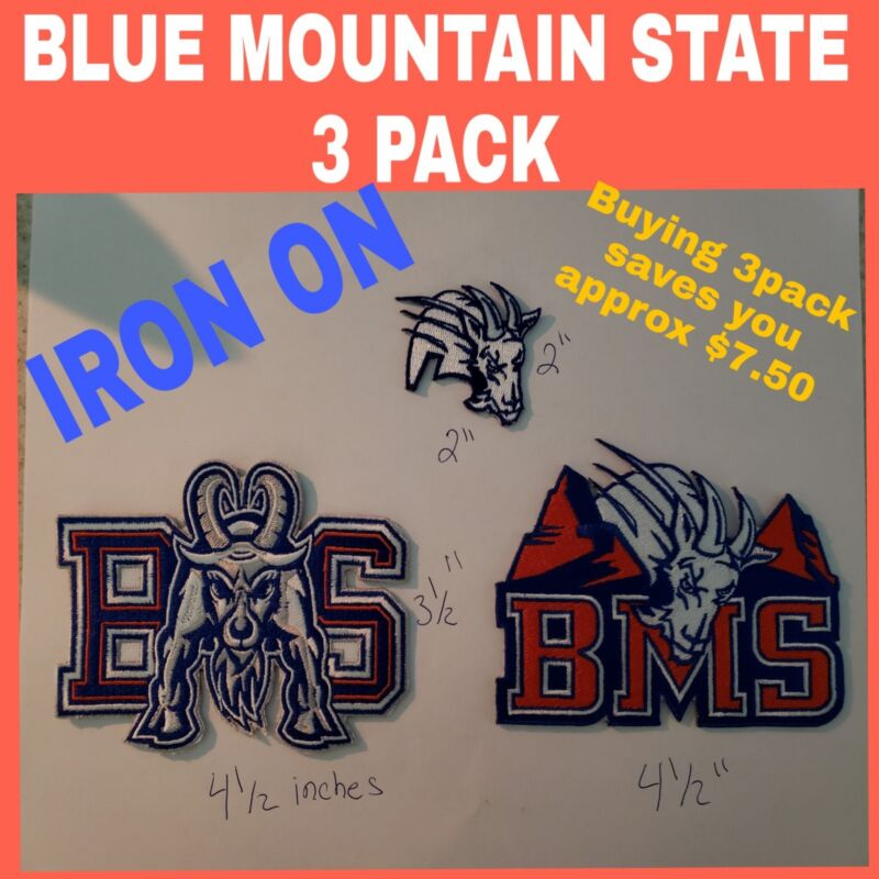 "BLUE MOUNTAIN STATE ""BMS"" IRON ON PATCHES 3 Pack."