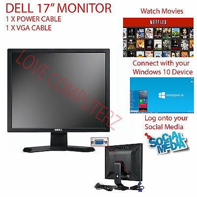 "DELL E177 E178 17"" HD LCD TFT FLAT PANEL MONITOR FOR OFFICE COMPUTER CCTV"