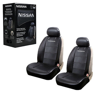 Nissan Synthetic Leather Sideless Car Truck 2 Front Seat Covers Headrest Covers