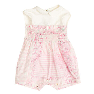 RRP €170 YOUNG VERSACE Romper Size 1M Striped Barocco Ruffle Trim Made in Italy