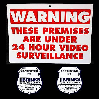 Warning Video Surveillance Cameras In Use System Yard Sign2 Brinks Adt Stickers