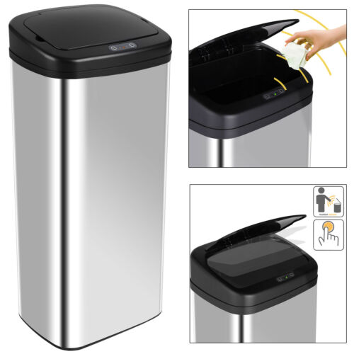 DEUBA® Sensor Mülleimer Abfalleimer Automatik Edelstahl Abfallbehälter 50L