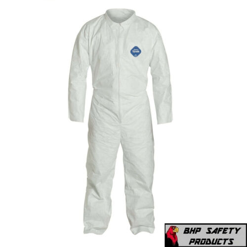 DUPONT TY120S WHITE TYVEK COVERALL WITH COLLAR ZIPPER BUNNY SUIT SIZE M-4XL