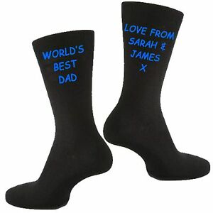 Mens Personalised Custom Vinyl Printed Fathers Day Gift Socks For Dad or Grandad
