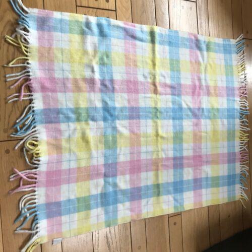 Tennessee Woolen Mills Vintage Baby Blanket Pastel Fringe Acrylic SOFT CLEAN EUC