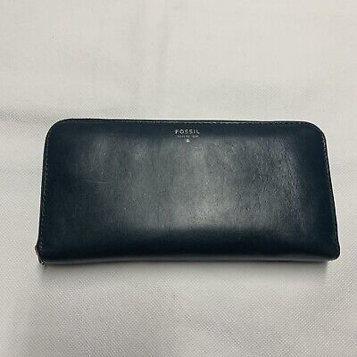 """FOSSIL Navy Blue Pebbled Leather Wallet Missing Wristlet Zip-Around 4"""" x 8"""""""