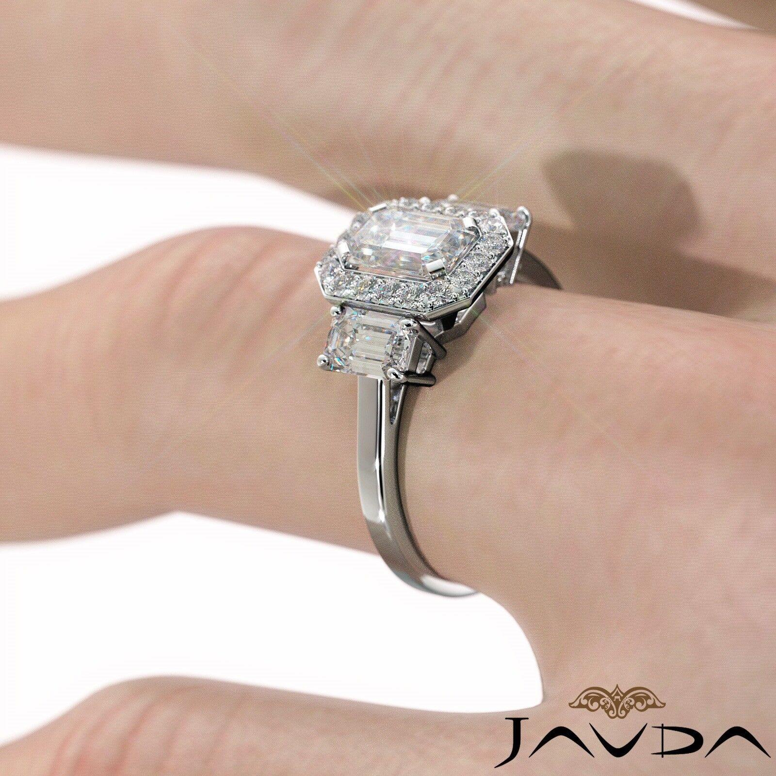 1.55ctw 3 Stone Halo Pave Emerald Diamond Engagement Ring GIA F-SI2 White Gold 6