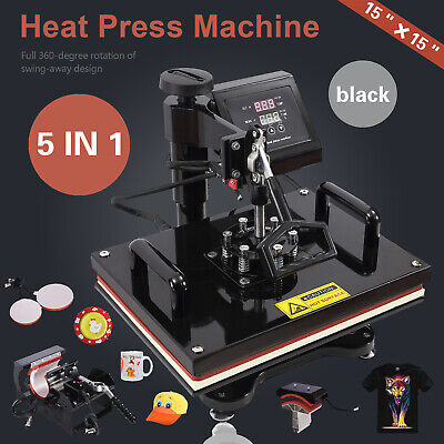 5 In 1 Heat Press Machine For T-shirts 15x15 Combo Kit Sublimation Swing Away