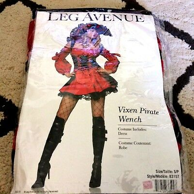 Red Pirate Wench Costume, Leg Avenue 83157, Sexy Adult, Women's Size S SMALL  - Leg Avenue Pirate Wench Costume