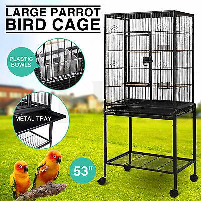 "Large Bird 53"" Parrot Cage Iron Pet Supplies Finch Conures House w/Stand Wheel"
