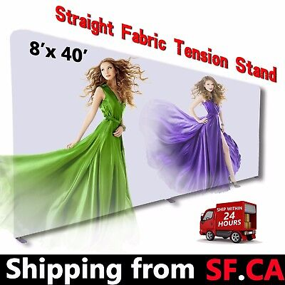 8 X 40ftstraight Booth Exhibit Show Tension Fabric Tube Display Wall Stand