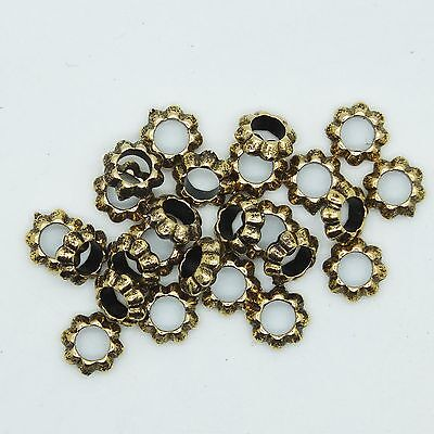 Large Ring Bead (Floral Ring Washer Spacer Bead 7mm Metalized Large Hole Antiqued Gold )