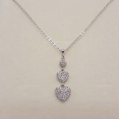Collana con cuore ciondolo pendente argento 925 rodiato con zirconi brillanti