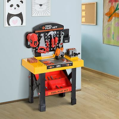 53pc Kids Pretend Play Toy Tool Table Set Workshop Bench DIY Workbench