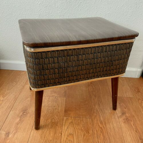 Burlington Sewing Box Bench Stool Basket Ottoman Mid Century Vintage Brown