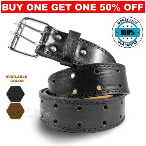 Genuine Leather Casual Dress Jean Double Hole Grommet Belt Black Brown Mens M-xl