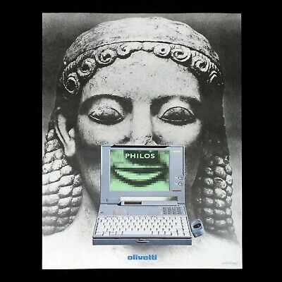 OLIVETTI PHILOS poster manifesto advertising Computer Greek Sculpture Laptop F50