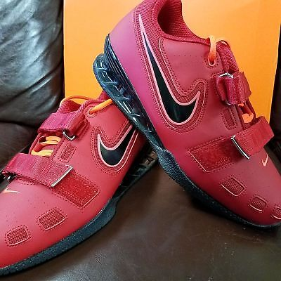 Brand New In Box  Nike Romaleos 2 Mens Weightlifting Shoes Red Black Orange 606